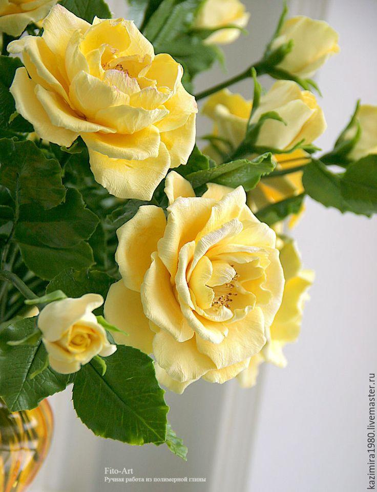 Polymer clay handmade flowers. Купить Букет желтых роз. Керамическая флористика. - желтый, керамическая флористика, желтые розы, розы