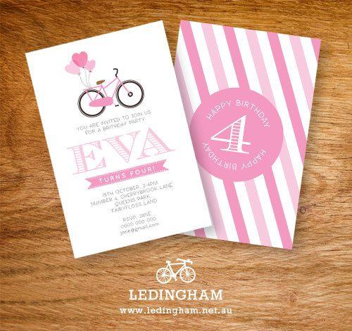 Girls Pink Bicycle Birthday Party Invitations (Personalised DIY Printables)