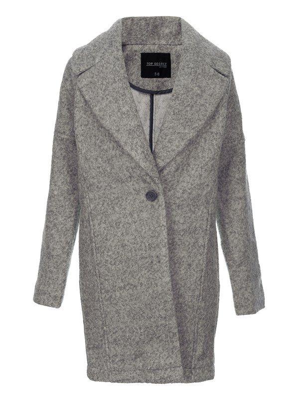 Płaszcz damski szary  - SPZ0271 płaszcz - TOP SECRET - Odzieżowy sklep internetowy TOP SECRET