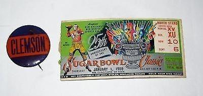 1959 Sugar Bowl – LSU vs Clemson - ticket stub and Clemson pin | #925011606