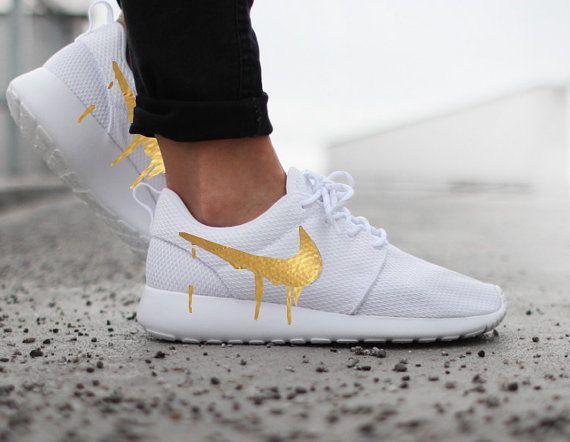Nike Roshe Run One White with Custom Gold Candy Drip Swoosh Paint