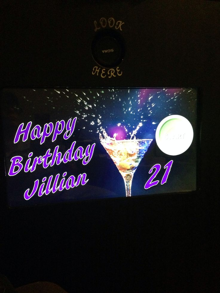 Customized booth screen for 21 st birthday party.
