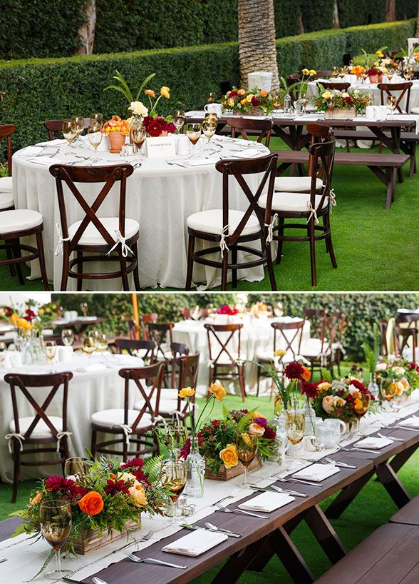 farm tables were lined with neutral