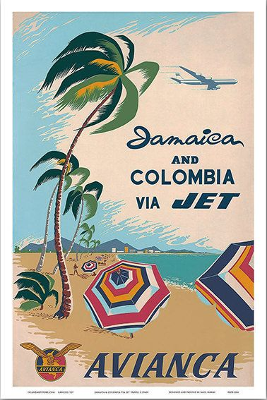 Jamaica and Colombia Via Jet  Avianca National Airways by WallArty
