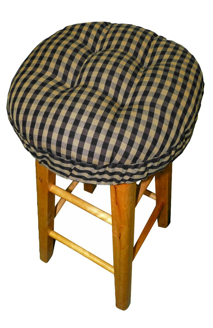 Checkers Black & Tan Bar Stool Covers with Latex Foam Bar Stool Cushion & Adjustable Drawstring