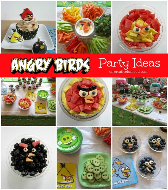 Angry Birds Birthday Party Ideas on creativefunfood.com!! :: Healthy and simple fun food ideas for an Angry Birds themed Party :)