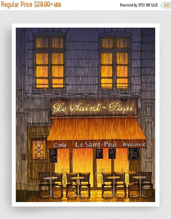30% OFF SALE: Parijs illustratie  regenachtige dag  door tubidu