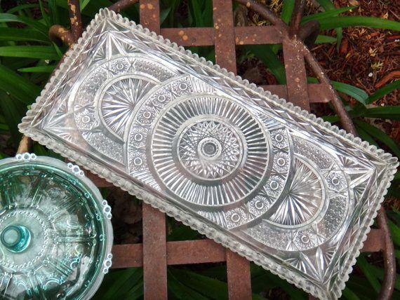 Tray Oblong Tray Vintage Plastic Tray Relish by CasaKarmaDecor