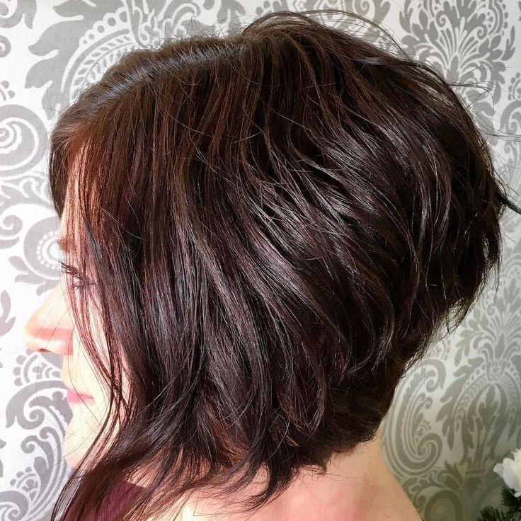 Layered Angled Bob for Wavy Hair
