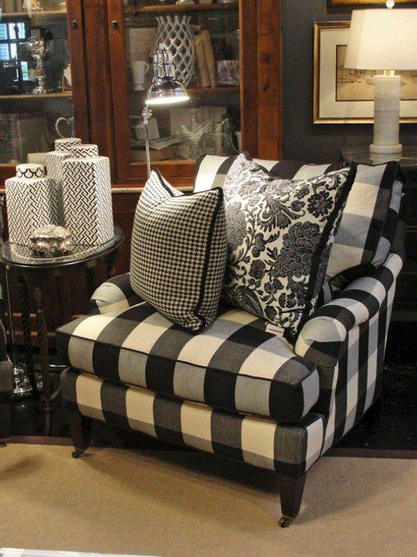 Covered In A Classic Black And White Buffalo Check, This Chair Is Relaxed