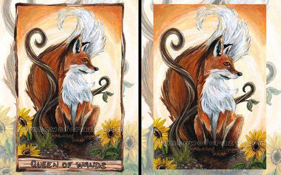Red Fox Print Sunflower Decor Large Wall Art Queen Of