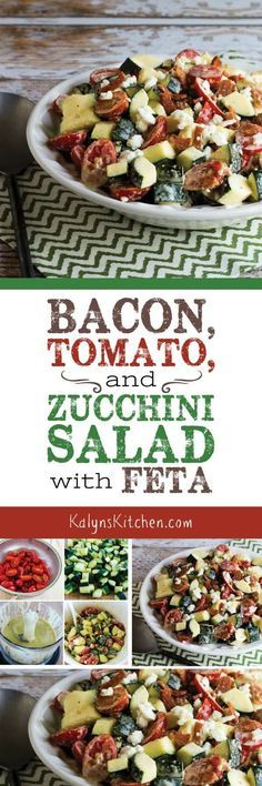 Bacon, Tomato, and Zucchini Salad with Feta is a fun way to use zucchini in a summer salad that's always a treat! And this tasty salad is low-carb, Keto, low-glycemic, gluten-free, and South Beach Diet friendly if you don't mind splurging on a little bacon! [found on KalynsKitchen.com]