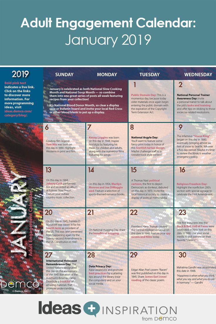 Adult Calendar 2019 Adult Activity Calendar: January 2019 | Adult Programming