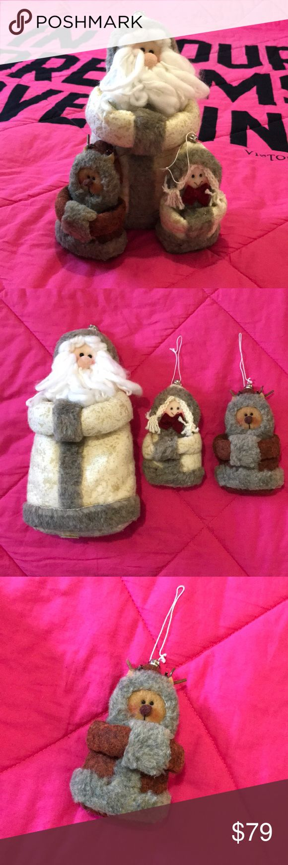 """🎄 Kremmerhuset Decor 🎄 New with tags. A cute set, for the collection. Santa measures 10"""" tall. & the other 2 measure 5"""" tall. All have heavy weighted bean bags in bottoms. Cute, & ready for next year!!! 🎄🎄🎄 🖤 ALWAYS OPEN TO OFFERS 🖤 Accessories"""