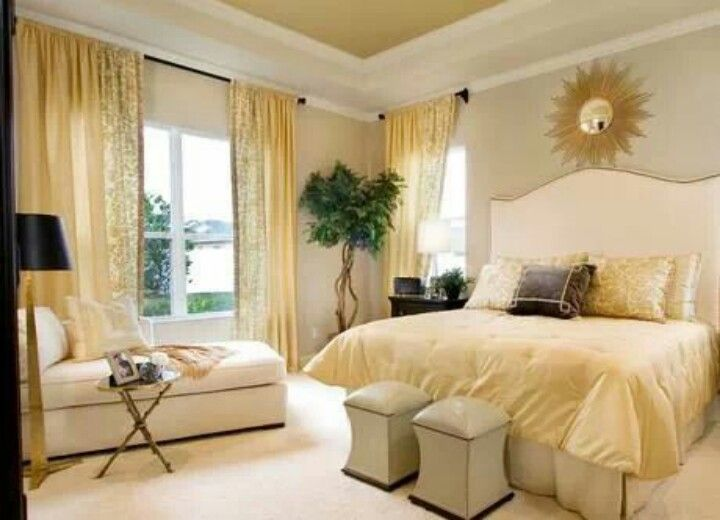 Light yellow bedroom bedrooms and other rooms pinterest Master bedroom with yellow walls