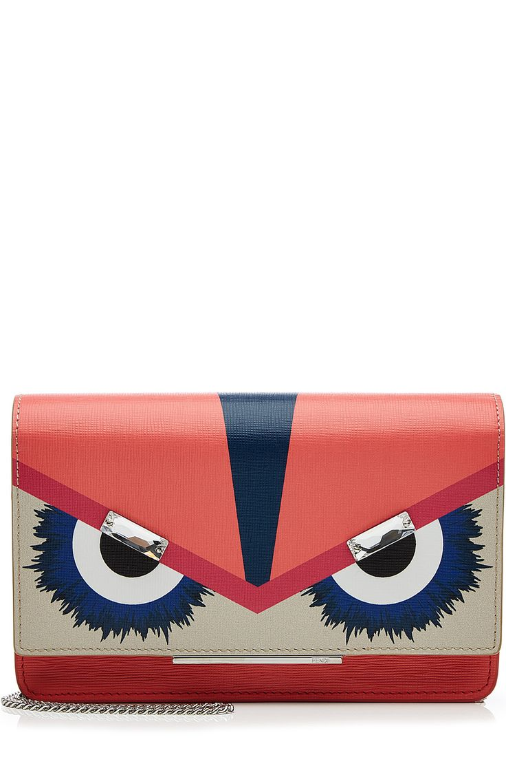 FENDI Bag Bugs Leather Clutch. #fendi #bags #leather #clutch #lining #crystal #hand bags #