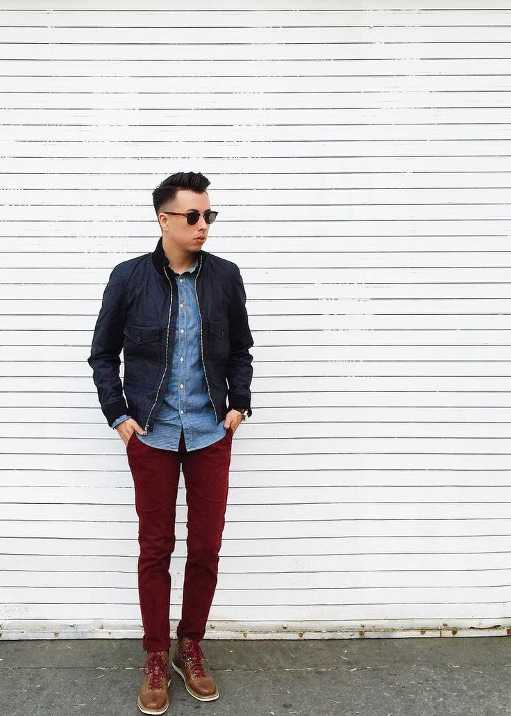 Loving this navy bomber jacket and burgundy pants combo on The Detailed Gent