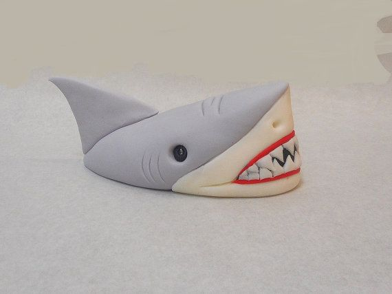 Shark Head Out of Water Fondant Cake Topper 1st by CakeTopperChic