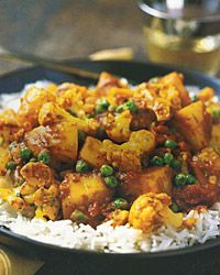 Cauliflower, Potato, and Pea Curry use ingredients but use traders curry sauce to speed up process. Use as side with rotisserie chicken
