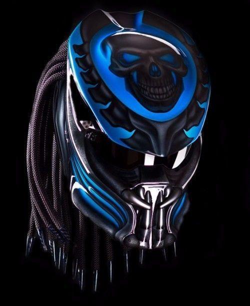 PREDATOR HELMET CUSTOM MOTORCYCLE STREET FIGHTER - BLUE #HandMade