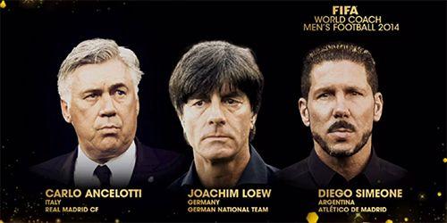 La FIFA Entrenador Mundial nominees   December 1, 2014 Carlo Ancelotti (Italia/Real Madrid CF); Joachim Löw (Alemania/Selección Alemana); Diego Simeone (Argentina/Atlético de Madrid);