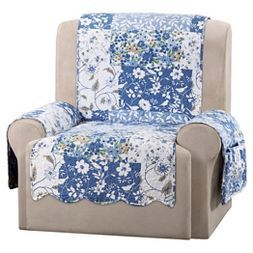 Blue Heirloom Bluebell Floral Recliner Furniture Cover - Sure Fit