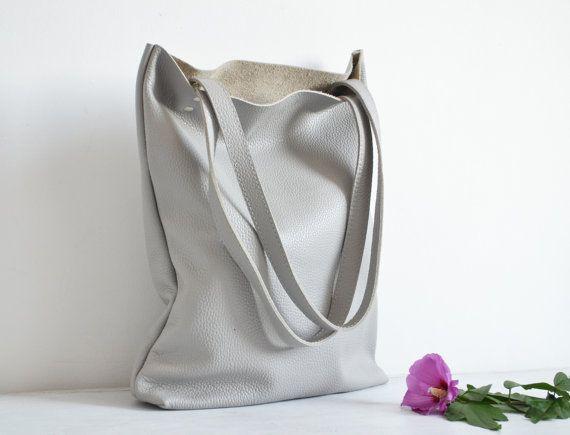 MADRID  Leather tote bag handmade bag black tote bag by KadoBag