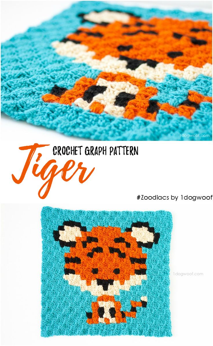 Zoodiacs Tiger C2C Crochet Graph free pattern - One Dog Woof