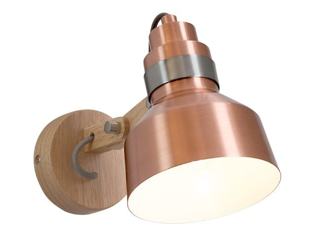 Dean Wall Lamp, Wood & Brushed Copper