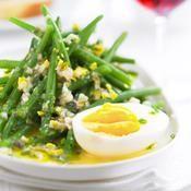Salade de haricots verts, vinaigrette à l'œuf écrasé - une recette Salade - Cuisine