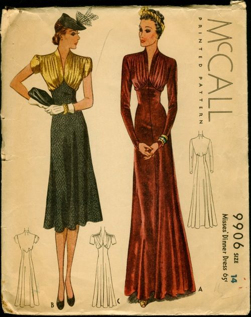 MCCalls Pattern 9906.jpg This dress is awesome! I'll remake it with 3/4 length sleeves, raise the front hem and add current embellishments: 1930S Mccall, 1930S Patterns, Mccall 9906, Vintage Patterns, Dinners Dresses, 1930S Gowns, 1930S Dresses, Stunning 1930S, Dresses Patterns