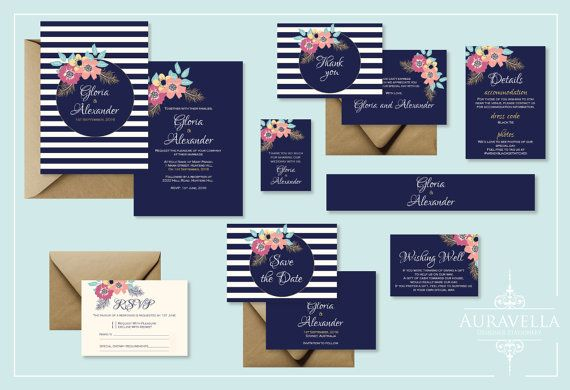 Printable wedding invitation suite. wedding Invitation Set. Stripes invitation. wedding invite. Save The Date. Floral Wedding Invitation