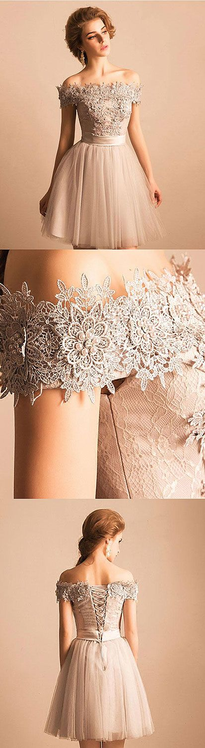 Cute gray lace off shoulder short prom dress, homecoming dress