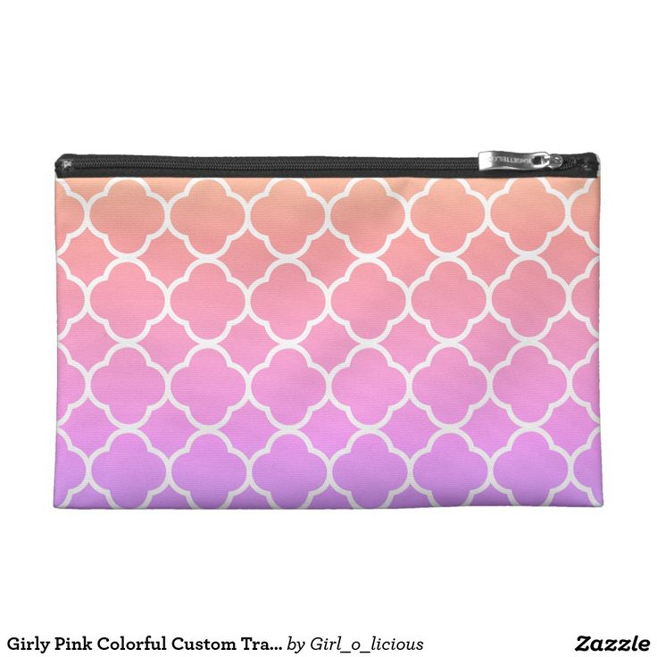 Girly Pink Colorful Custom Travel Accessory Bag