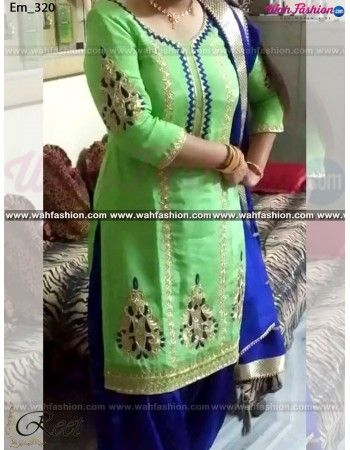 Give yourself a stylish & stunning look with this Designer Green And Royal Blue Punjabi Suit. Embellished with Embroidery work and lace work. Available with matching bottom & dupatta. It will make you noticable in special gathering. You can design this suit in any color combination or in any fabric. Just whatsapp us for more details.  For more details whatsapp us: +919915178418