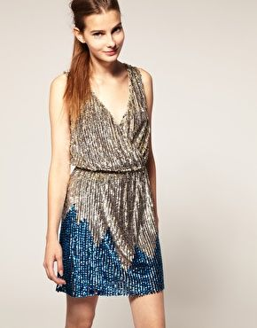 OH SHNAP! lovin this retro vibed sequin wrap dress...that blue makes it really pop !!! <3: Fashion, Style, Dresses, Sequins, Revive Sequin