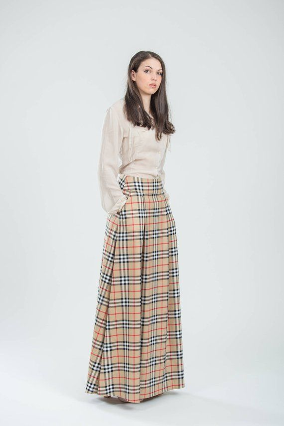 6a86d0aeadccd Beige plaid skirt with pockets long Womens business wear Office clothing  Maxi checkered skirt pleate