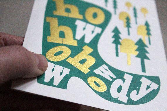 Besondere Weihnachtskarte in gold und grün, hergestellt im Siebdruckverfahren - von Kaline Shop.