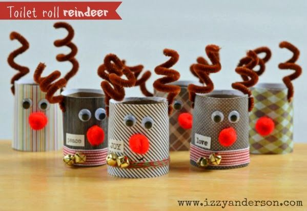 Toilet Roll Reindeer. So cute and easy to make. Great kid-friendly craft. Directions on blog.