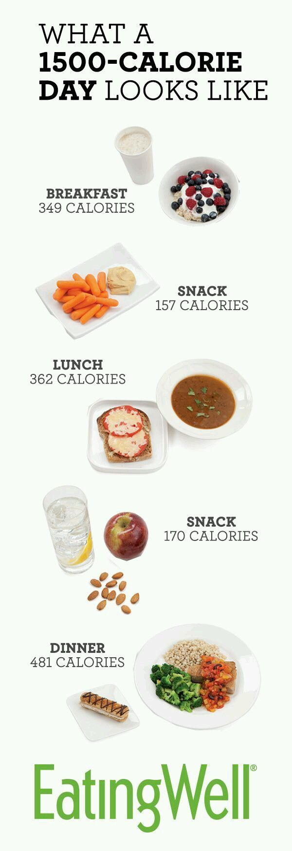 Most people will lose weight on a daily diet of 1,500 calories, which is the total calorie count for all the food pictured here. #500CalorieDiets,