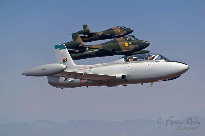 Three South African Air Force Impalas in formation 2004. Photo ~ the late Frans Dely.