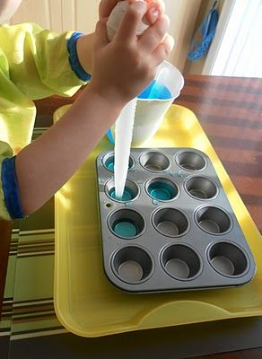 A great fine motor activity that requires small hand movements and concentration to squeeze the water into one small muffin tin and then suck it back up in the baster.