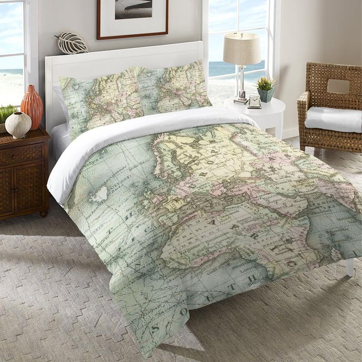 The Soft Colors On This Vintage Map Will Inspire You To Travel The World All Of Our Products Are Digitally Printed To Bedroom Themes Map Duvet Map Duvet Cover