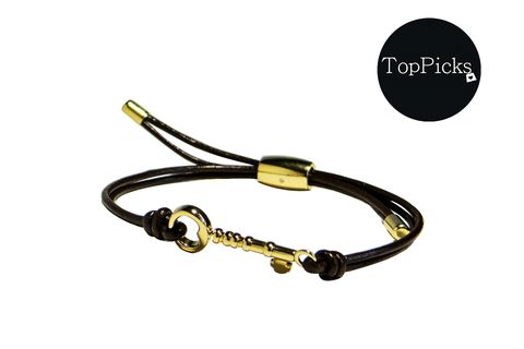 Gold Key Wrist Wrap Brown Leather and Stainless Steel  Bracelet