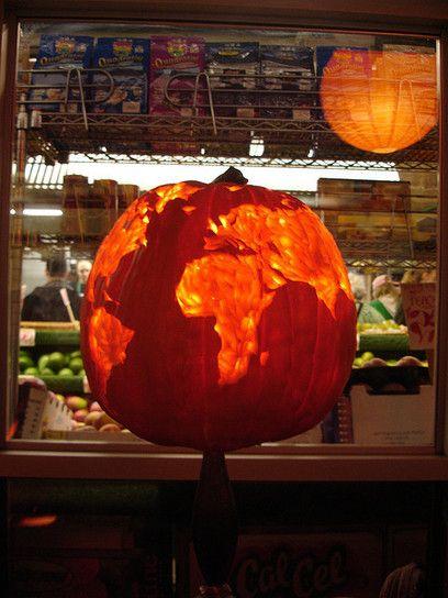 Carved pumpkin at manhattan fruit exchange in chelsea