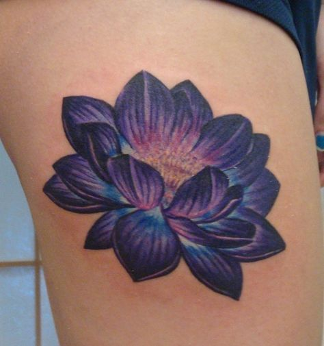 920 tattoo, oshkosh, wisconsin, carrie olson, tattoos, flower tattoos, lotus tattoo, purple lotus tattoo, purple flower tattoo, no outline