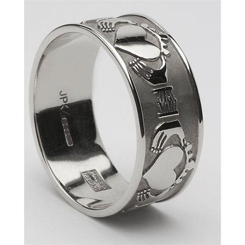 Mens Claddagh Wedding Band Sterling Silver Claddagh Wedding Ring
