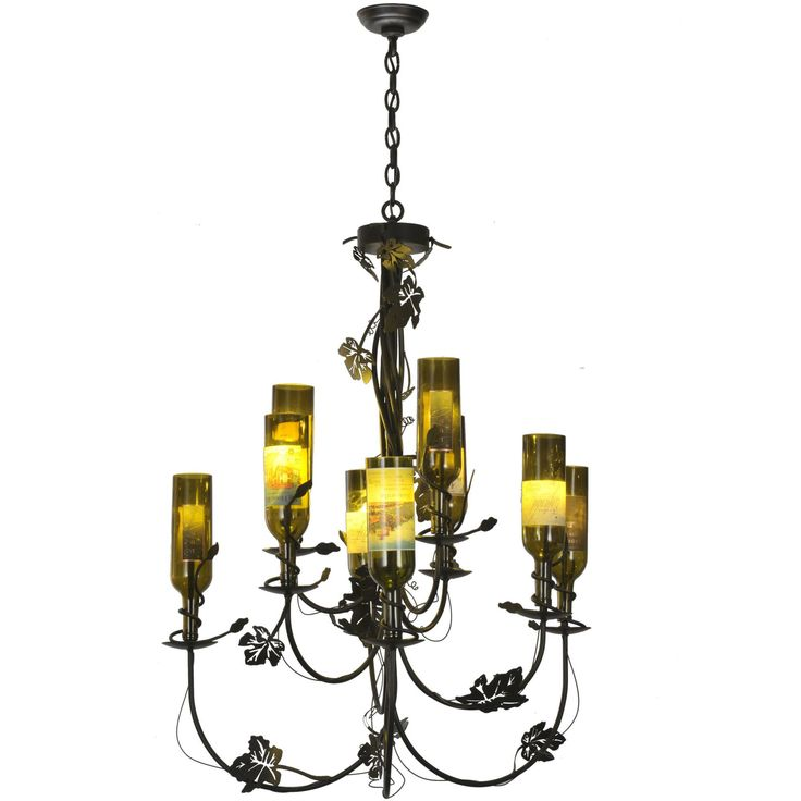 """34 Inch W Tuscan Vineyard 9 Arm Wine Bottle Chandelier - Custom Made. 34 Inch W Tuscan Vineyard 9 Arm Wine Bottle Chandelier Theme:  RUSTIC LODGE CONTEMPORARY Product Family:  Tuscan Vineyard Product Type:  CEILING FIXTURE Product Application:  CHANDELIER Color:  BLACK Bulb Type: HALOGEN Bulb Quantity:  9 Bulb Wattage:  20 Product Dimensions:  45""""-75""""H x 34WPackage Dimensions:  NABoxed Weight:  19 lbsDim Weight:  NAOversized Shipping Reference:  TRUCKIMPORTANT NOTE: Most of our items are…"""