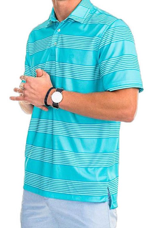 5794f6fd2f Shop Jennings Hill Stripe Performance Polo in Crystal Blue by Southern Tide  at Country Club Prep