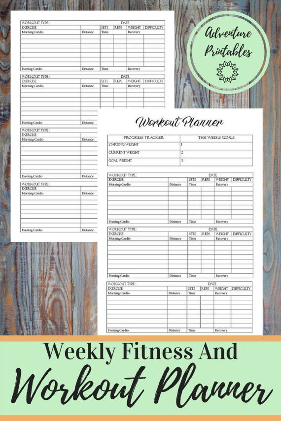 Workout Planner, Fitness Printable Planner Form, Exercise Weekly Plan, Weight Loss Tracker  Plan Ahead all of you workouts of the week for a successful weight loss.  WHATS INCLUDED:  ► Weekly Fitness Printable Workout Planner  ► 2 Sizes: A4 and Letter Size   Visit The Shop: https://www.etsy.com/shop/AdventurePrintables ---------------------------------------------------------------------------------------------------------  Fitness Meal Planner: http://etsy.me&#x...